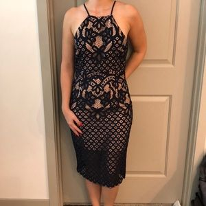 Bardot Navy Halter Dress